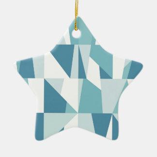 Ornamento De Cerâmica Teste padrão azul geométrico