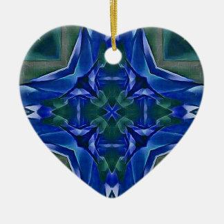 Ornamento De Cerâmica Teste padrão bonito da forma da cruz dos azuis
