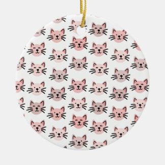 Ornamento De Cerâmica Teste padrão bonito do gato