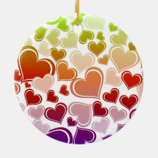 Ornamento De Cerâmica Teste padrão brilhante Funky dos corações