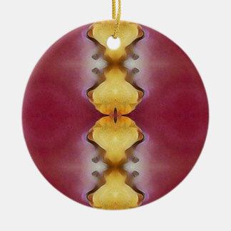 Ornamento De Cerâmica Teste padrão chique moderno do amarelo do rosa de