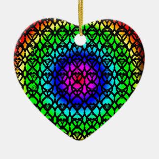 Ornamento De Cerâmica Teste padrão colorido do abstrato do arco-íris do