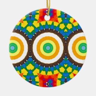 Ornamento De Cerâmica Teste padrão colorido do ponto do caleidoscópio