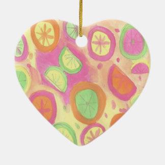Ornamento De Cerâmica Teste padrão cor-de-rosa da limonada