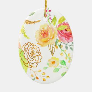 Ornamento De Cerâmica Teste padrão cor-de-rosa do pêssego e do ouro da