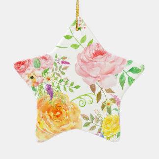 Ornamento De Cerâmica Teste padrão cor-de-rosa do rosa e do pêssego da