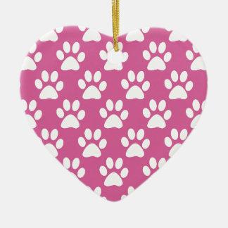 Ornamento De Cerâmica Teste padrão cor-de-rosa e branco das patas do
