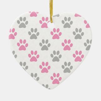 Ornamento De Cerâmica Teste padrão cor-de-rosa e cinzento das patas do