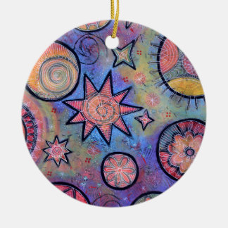 Ornamento De Cerâmica Teste padrão cósmico do abstrato cura da luz