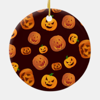 Ornamento De Cerâmica Teste padrão da abóbora da Jack-O-Lanterna do Dia