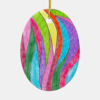 Ornamento De Cerâmica Teste padrão da arte do arco-íris