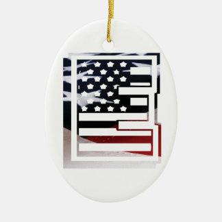 Ornamento De Cerâmica Teste padrão da bandeira dos EUA da inicial do