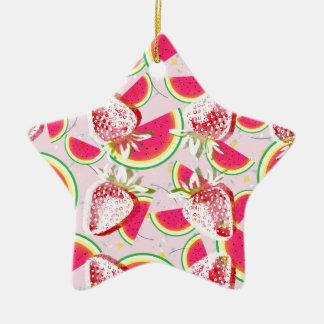 Ornamento De Cerâmica Teste padrão da festa do melão das morangos