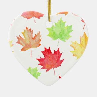 Ornamento De Cerâmica Teste padrão da folha de bordo da aguarela