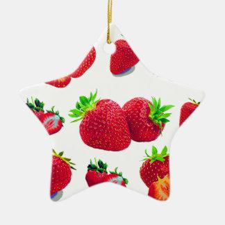Ornamento De Cerâmica Teste padrão da fruta da morango