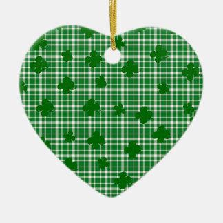 Ornamento De Cerâmica Teste padrão da xadrez do dia do St. Patricks