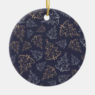 Ornamento De Cerâmica Teste padrão das árvores de Natal - presentes do