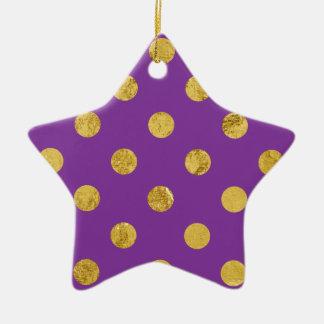 Ornamento De Cerâmica Teste padrão de bolinhas elegante da folha de ouro