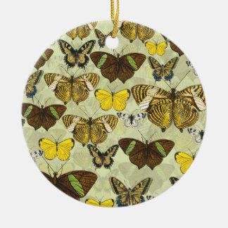 Ornamento De Cerâmica Teste padrão de borboletas retro do vintage