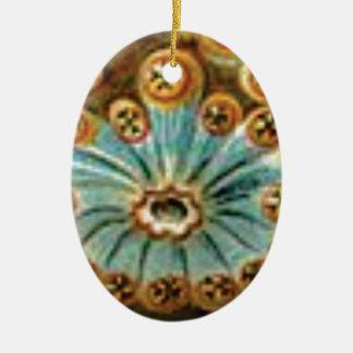 Ornamento De Cerâmica teste padrão de creme azul legal