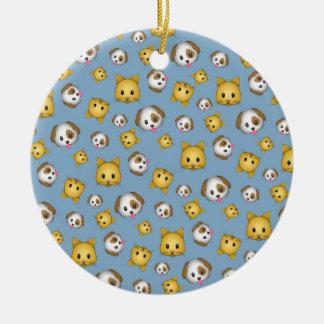 Ornamento De Cerâmica Teste padrão de Emoji dos gatos e dos cães