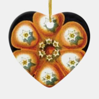 Ornamento De Cerâmica teste padrão de flor alaranjado da estrela