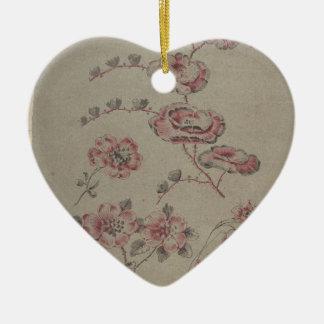 Ornamento De Cerâmica Teste padrão de flor cor-de-rosa - francês