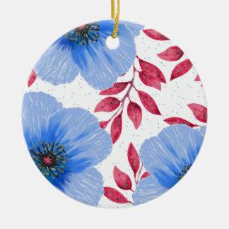 Ornamento De Cerâmica Teste padrão de flores bonito da papoila azul
