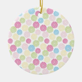 Ornamento De Cerâmica Teste padrão de flores Pastel colorido da dália