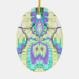Ornamento De Cerâmica Teste padrão de néon festivo vibrante do abstrato