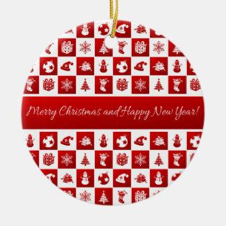 Ornamento De Cerâmica Teste padrão do ano novo. Vermelho e branco. 2018.