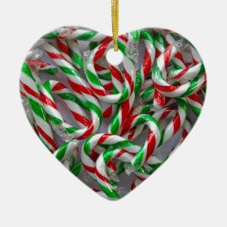 Ornamento De Cerâmica Teste padrão do bastão de doces do Natal