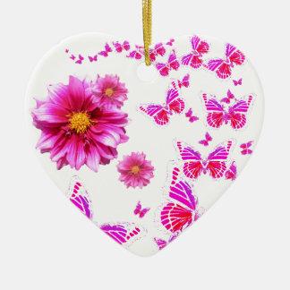 Ornamento De Cerâmica Teste padrão do branco cor-de-rosa fúcsia da dália