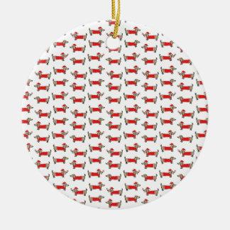 Ornamento De Cerâmica Teste padrão do dachshund do Natal