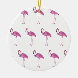Ornamento De Cerâmica Teste padrão do flamingo da aguarela em um
