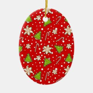 Ornamento De Cerâmica Teste padrão do Natal dos biscoitos do gengibre