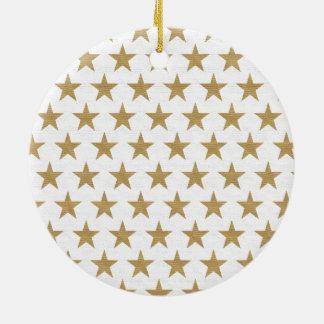 Ornamento De Cerâmica Teste padrão do ouro da estrela com textura do