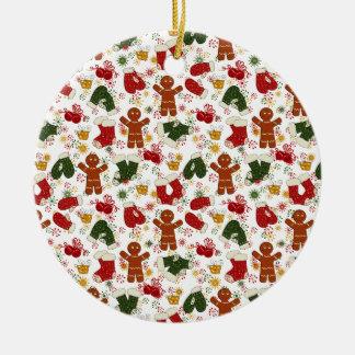 Ornamento De Cerâmica Teste padrão do pão-de-espécie do feriado