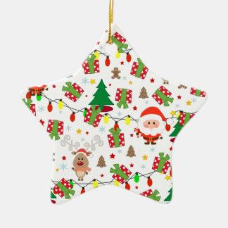Ornamento De Cerâmica Teste padrão do papai noel e do Rudolph