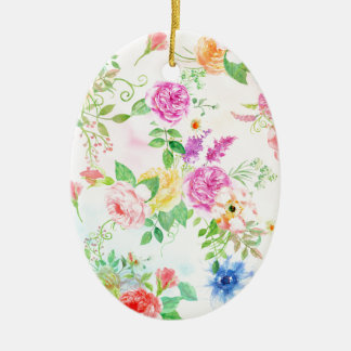 Ornamento De Cerâmica Teste padrão do pêssego da aguarela e do rosa