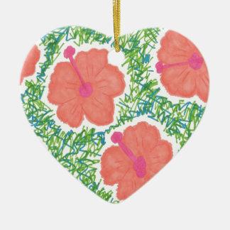 Ornamento De Cerâmica Teste padrão do pop art do hibiscus