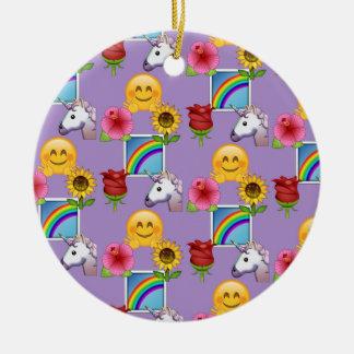 Ornamento De Cerâmica Teste padrão do roxo da beleza de Emoji