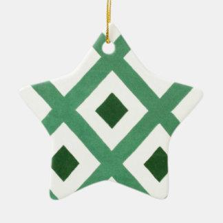 Ornamento De Cerâmica Teste padrão do triângulo de Forest Green