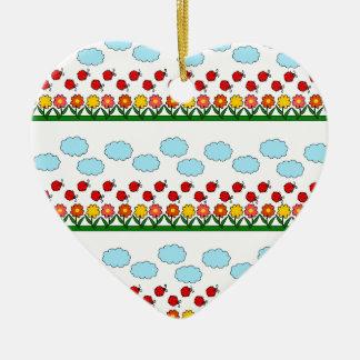 Ornamento De Cerâmica Teste padrão dos joaninhas e de flores