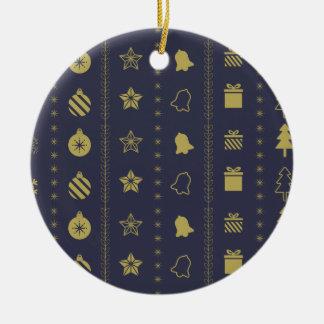 Ornamento De Cerâmica Teste padrão dourado luxuoso do Natal - presentes