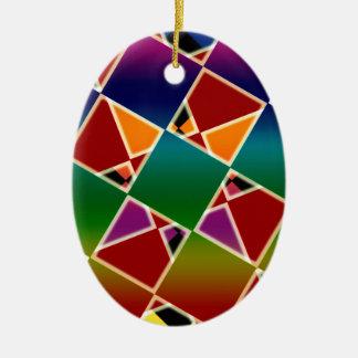 Ornamento De Cerâmica Teste padrão esquadrado colorido telhado
