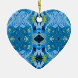 Ornamento De Cerâmica Teste padrão estrelado do limão moderno legal dos