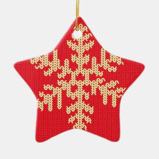 Ornamento De Cerâmica Teste padrão feito malha do floco de neve