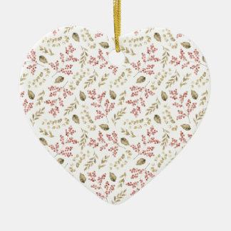 Ornamento De Cerâmica Teste padrão floral com bagas