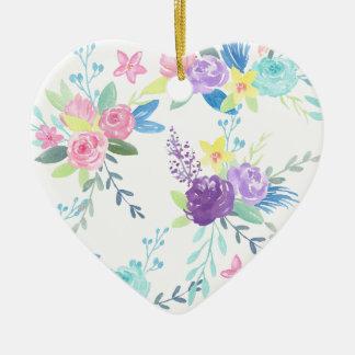 Ornamento De Cerâmica Teste padrão floral da cor pastel da aguarela